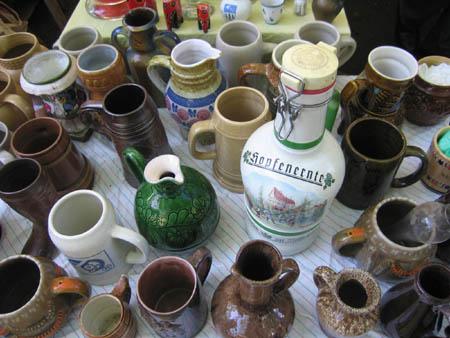 Beer steins Berlin antiques marketTiergarten