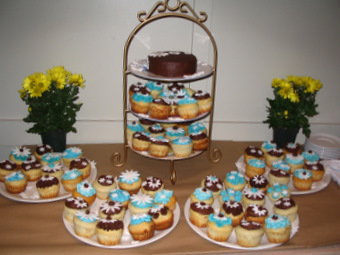cupcakes and small cake, engagement party