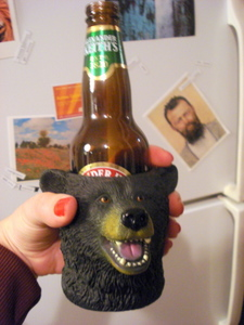 stubby holder, beer holder, beer cooler, grizzly bear