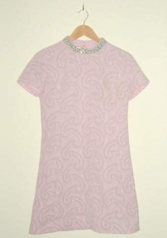 pink, silver, polyester shift dress, vintage
