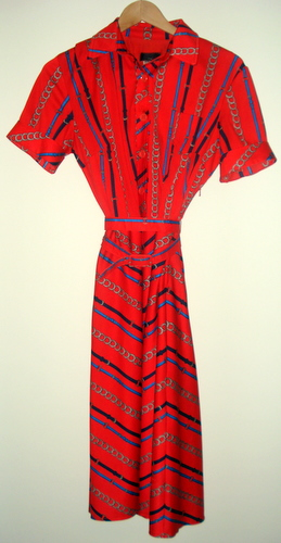 red chain print dress