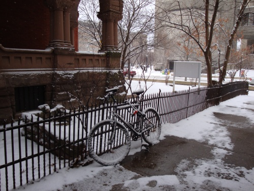 winter biking, university of toronto