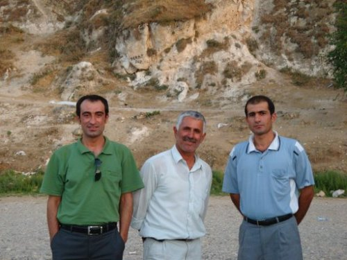 From right: translator Metin Baran, and Hasankeyf residents Halil Güzel and Abduhlah Erididil,